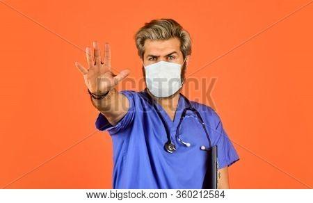 Stop Virus Extension. Doctor Wear Respirator Mask. Prevent Infection Disease. Coronavirus Epidemic F