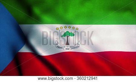 Equatorial Guinea Flag Waving In The Wind. National Flag Of Equatorial Guinea. Sign Of Equatorial Gu