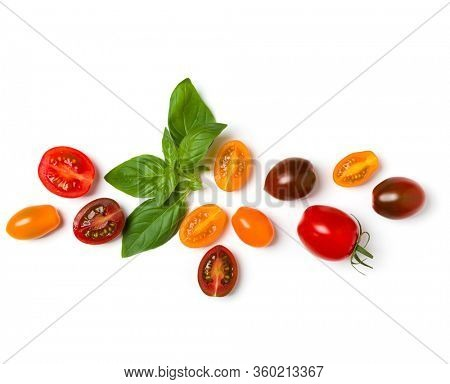 various colorful tomatoes and basil leaves isolated over white background. Top view, flat lay. Creative layout.