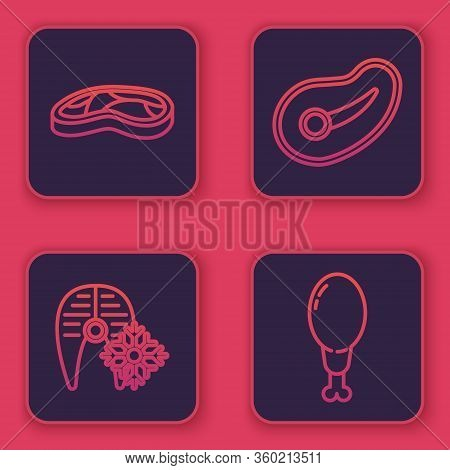 Set Line Steak Meat, Fresh Frozen Fish Steak, Steak Meat And Chicken Leg. Blue Square Button. Vector