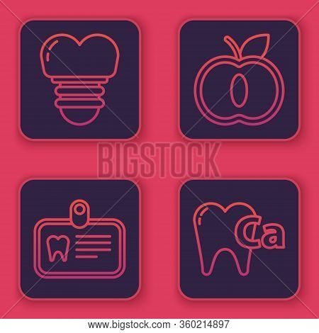 Set Line Dental Implant, Id Card With Tooth, Apple And Calcium For Tooth. Blue Square Button. Vector