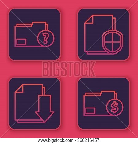 Set Line Unknown Document Folder, Document With Download, Document Protection Concept And Finance Do