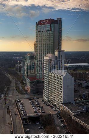 Niagara Falls City, December 2014 - Cityscape With Tall Buildings At Niagara City, Ontario, Canada