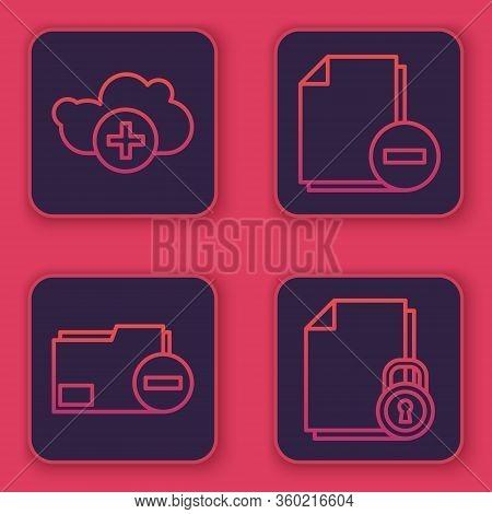 Set Line Add Cloud, Document Folder With Minus, Document With Minus And Document And Lock. Blue Squa