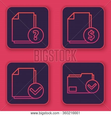 Set Line Unknown Document, Document And Check Mark, Finance Document And Document Folder And Check M
