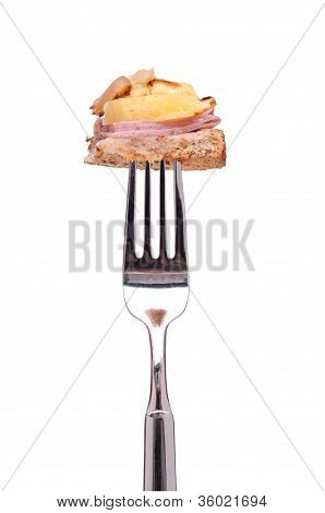 Toast, Ham And Pineapple On A Fork