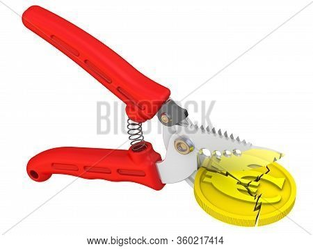 Pruner Cuts Gold Coin With The Euro Symbol. Isolated. 3d Illustration
