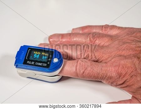 Pulse Oximeter On Finger Is A Good Way To Test Blood Oxygen Level In Case Of Virus Infection Of The