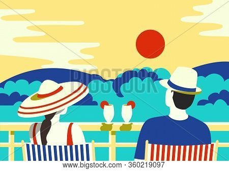 Sdult Couple Relax At Home Balcony In City House Vector. Staying Home Vacation Enjoy Cartoon Illustr