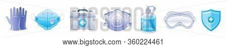 Ppe Icon Set. Corona Virus Covid 19 Protect Equipment. Respirator Surgical Mask, Glasses, Gloves Cor