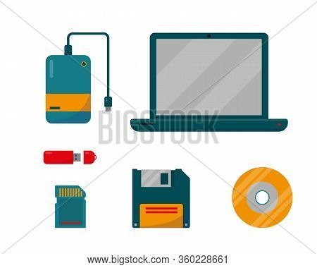 Set Of External Storage With Laptop. Digital Data Devices Icons Isolated On White Background. Vector