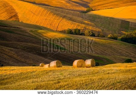 Late summer aerial landscape of valley in Italy