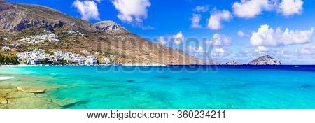 wonderful Greece - Amorgos island. Beautiful beach Aegiali with turquoise sea. Best of Cyclades