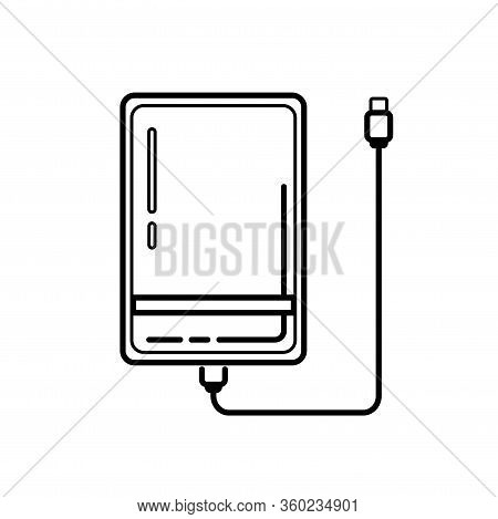 Line External Hard Disk Drive Icon With Usb Cable Isolated On White Background. Powerbank For Chargi