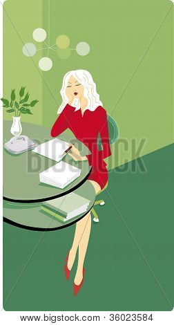 Businesswoman Sitting At Her Desk And Writing A Report