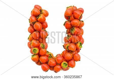 Letter U From Persimmons, 3d Rendering Isolated On  White Background