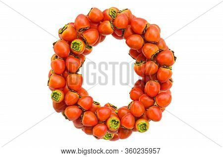 Letter O From Persimmons, 3d Rendering Isolated On  White Background