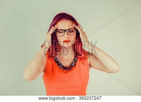 Headache Migraine Person, Woman Stressed. Closeup Portrait Young Female Girl With Migraine Headache