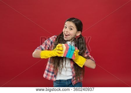 Inculcate Cleanliness. Cleaning With Sponge. Cleaning Supplies. Girl Rubber Gloves For Cleaning Hold