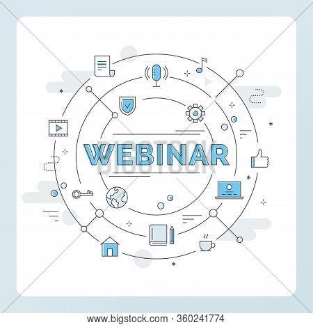 Internet Technology And Communication Icons. Webinar, Webcast, Livestream, Online Event Illustration