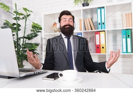 I Love Meditation. Businessman Sit With Mudra Gesture. Music For Meditation. Bearded Man Enjoy Medit