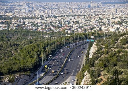Busy Highway In Athens And Aerial View Of The City From The Hill, Greece