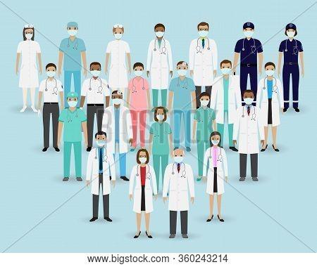 Group Doctors, Nurses And Paramedics In Masks. Medical Team. Medicine Banner. Hospital Staff.