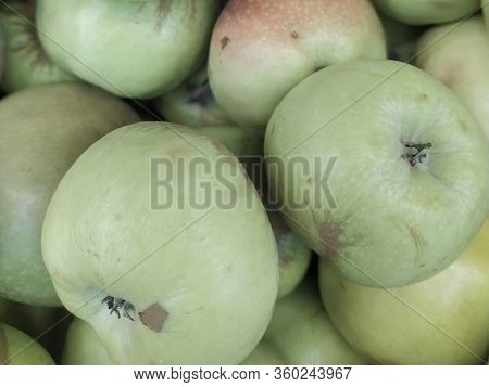 Green Apple Background, Shallow Depth Of Field.