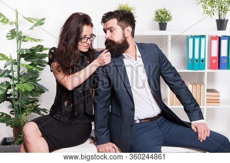 Seductive Colleague. Flirting With Boss. Man And Woman Business Colleagues. Office Flirt. Career Com