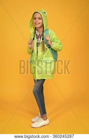 Waterproof Cloak. Waterproof Fabric For Your Comfort. Rainproof Accessory. Schoolgirl Hooded Raincoa
