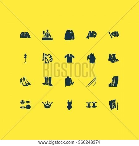 Fashion Design Icons Set With Polo Shirt, Garment, Buttons And Other High Round Collar Elements. Iso