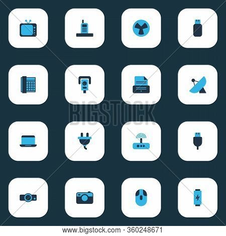 Gadget Icons Colored Set With Phone, Battery, Telephone And Other Old Phone Elements. Isolated Vecto