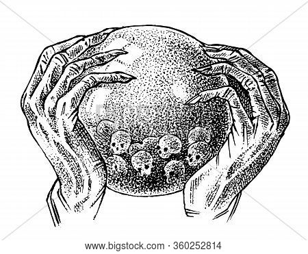 Magic Crystal Ball In The Hands Of A Fortune Teller. Soothsayer Or Predictor Looks To The Future. An