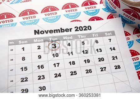 American Elections 2020, 3 Of November. Calendar Sheet With Circled Date Of Vote Day, Stickers For V