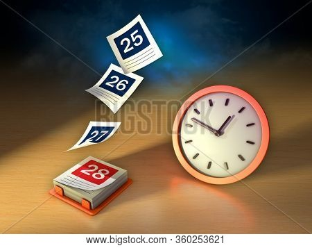 Calendar with its pages flying off and a clock. Conceptual image about the flowing of time. 3D illustration.