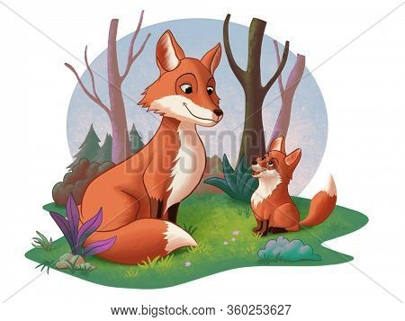 Cute fox cub and an adult fox looking at each other. Digital illustration.