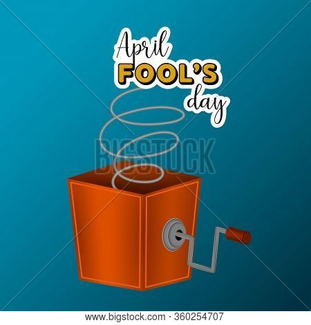 April Fools Day Card With A Joke Box - Vector