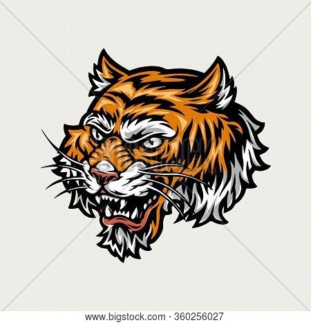 Colorful Ferocious Tiger Head In Vintage Style Isolated Vector Illustration