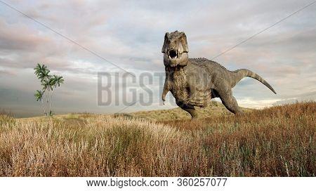 3d rendering of the waiting tyrannosaurus dinosaur