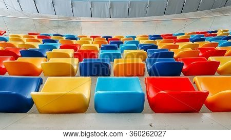 Multicolored Seats. Colorful Seating. Too Many Seats.
