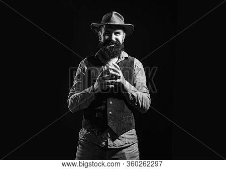 Alcohol Drink. Degustation And Tasting. Sommelier Tastes Expensive Alcohol Drink. Retro Vintage Man
