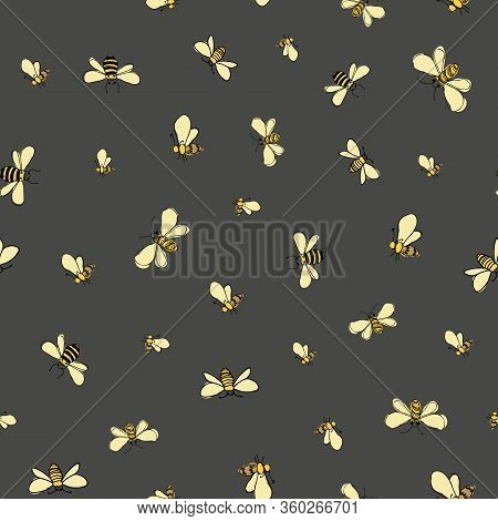 Bees Flying Around On Gray Background Seamless Vector Pattern Surface Design Honeybees