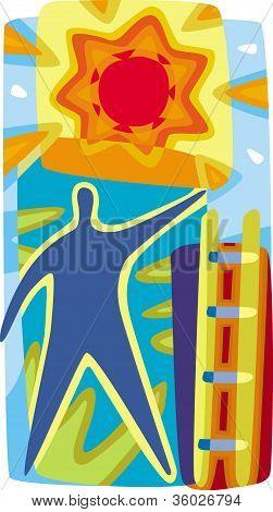 A Person Climbing A Ladder Towards The Sun