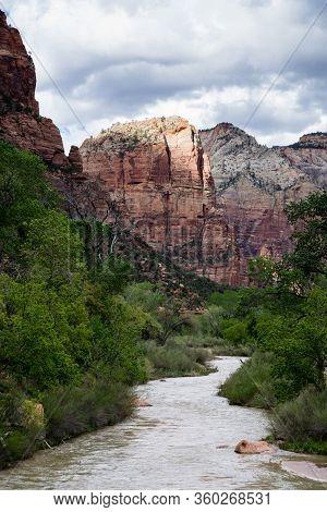The Virgin River Running Through Zion Canyon At Zion National Park - Utah, Usa