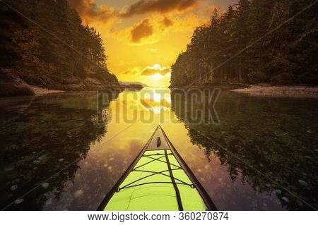 Kayaking On An Inflatable Kayak In The Peaceful Ocean By Rocky Islands Near Port Hardy, Vancouver Is