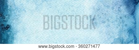 Abstract blue acrylic and watercolor blot painting background. Texture paper. Horizontal banner.
