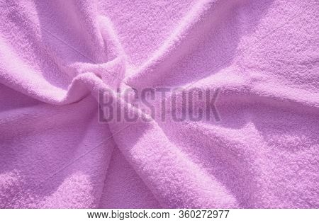 Pink Fluffy Terry Towel, A Simple Example Of The Texture Of A Soft, Fleecy Fabric, A Background Of F