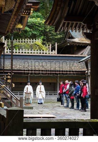 Chino, Nagano Prefecture, Japan - October 22, 2017: Shinto Ritual Being Performed At Suwa Taisha Kam