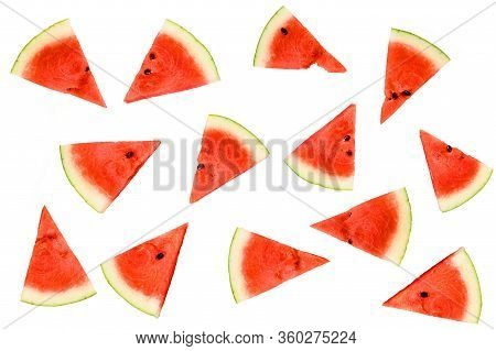 Small Pieces Of Watermelon Slice Isolated On White Background.