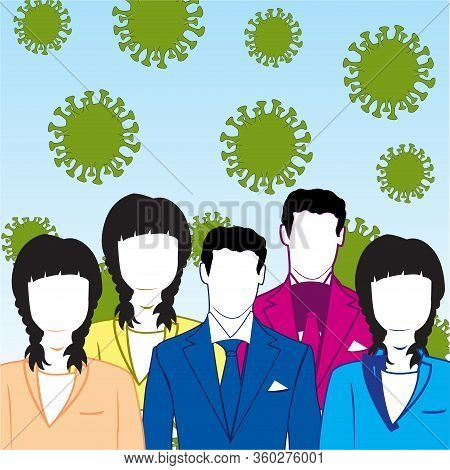 Epidemic Coronavirus And Much People Of The Mans And Womans